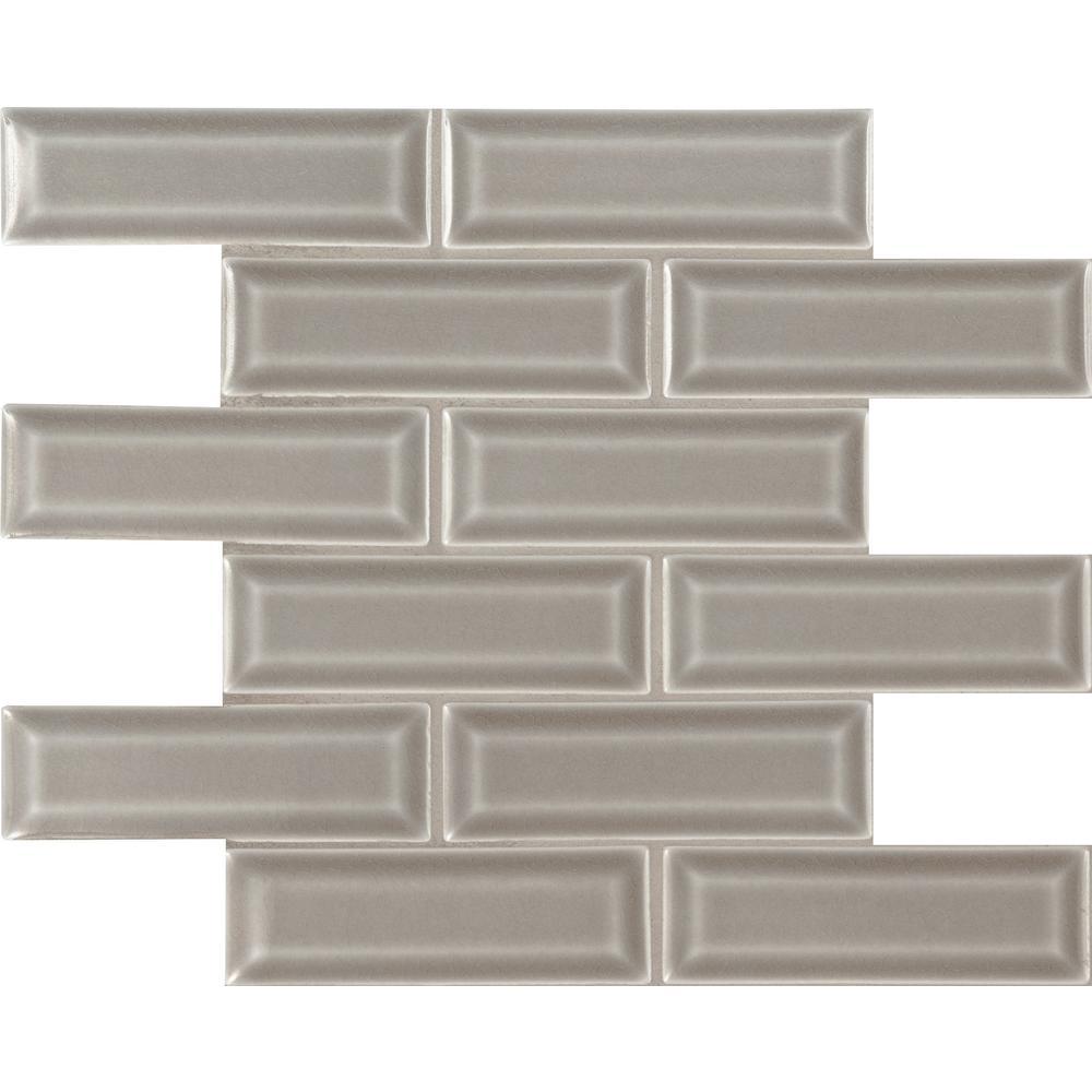 Msi dove gray beveled 12 in x 12 in x 10 mm ceramic mesh for 10 x 10 ceramic floor tile