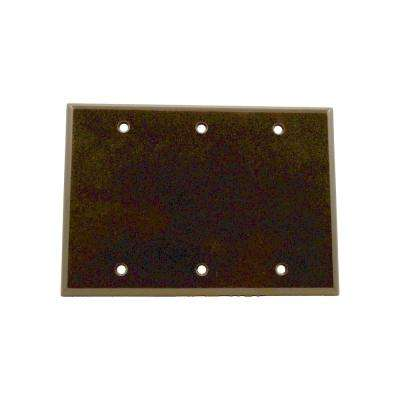 3-Gang No Device Blank Wallplate, Standard Size, Thermoset, Box Mount , Brown