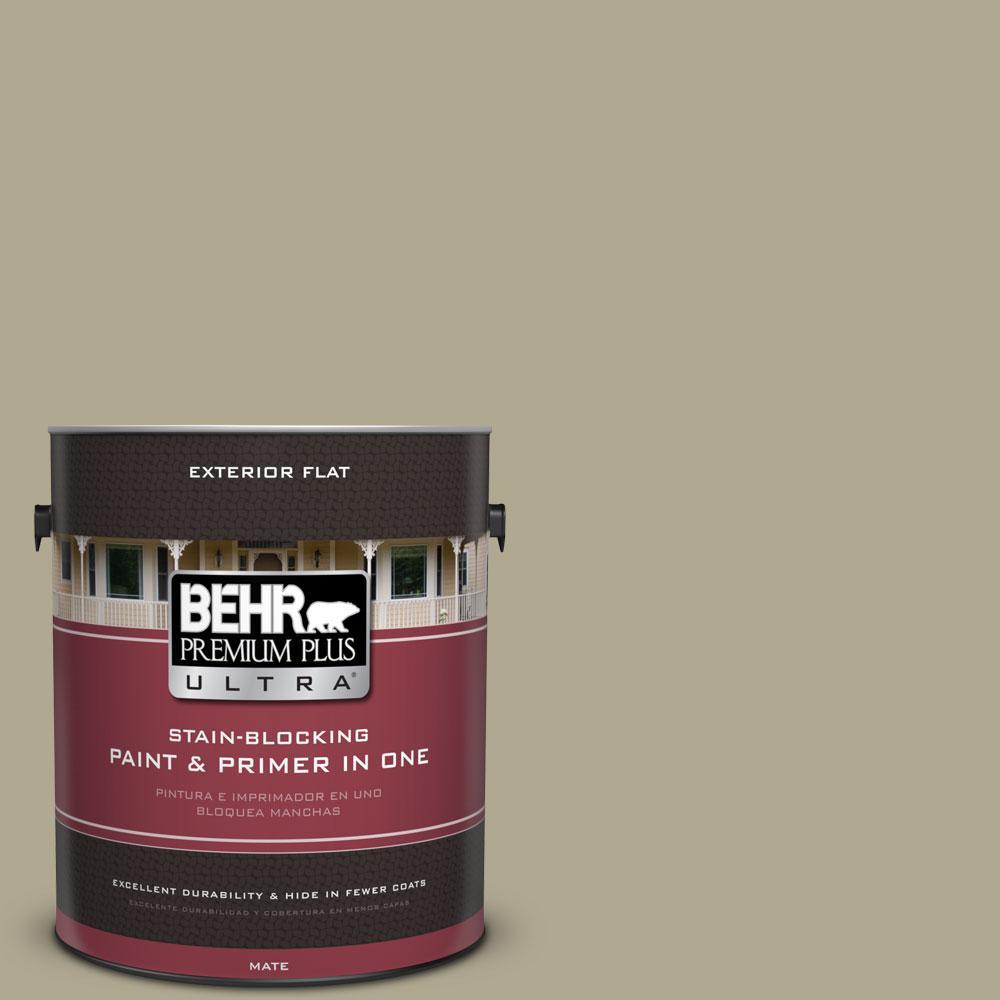 BEHR Premium Plus Ultra 1-gal. #BXC-22 Field Khaki Flat Exterior Paint