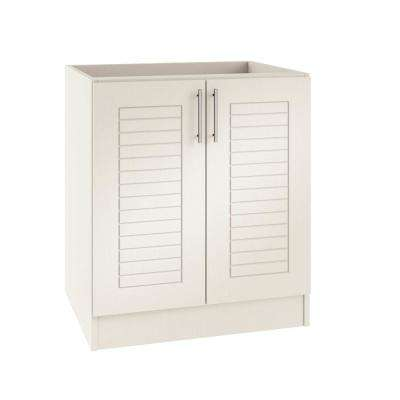 Assembled 30x34.5x24 in. Key West Island Outdoor Kitchen Base Cabinet with 2 Full Height Doors in Radiant White