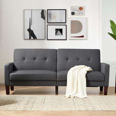 Gray Granville Upholstery Fabric Square Arms Sleeper Sofa Bed