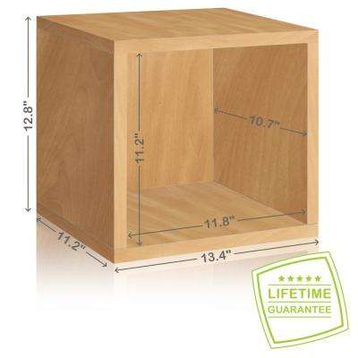 Eco Stackable zBoard  11.2 x 13.4 x 12.8 Tool-Free Assembly Storage Cube Unit Organizer in Natural Wood Grain