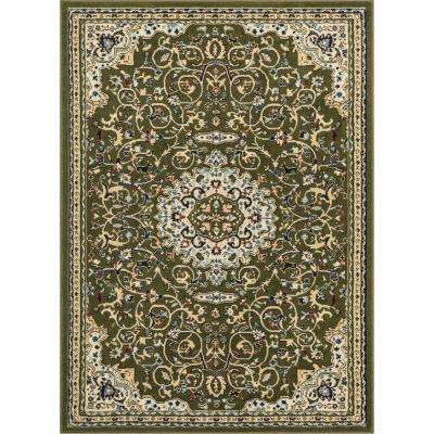 Persa Isfahan Traditional Medallion Green 7 ft. 10 in. x 9 ft. 10 in. Area Rug