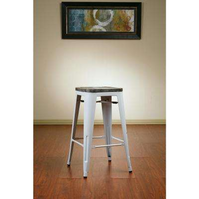 Bristow 26 in. Antique Metal Barstool withVintage Wood Seat in White Frame and Ash Crazy Horse Seat (2-Pack)