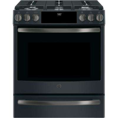 Profile 5.6 cu. ft. Slide-In Smart Gas Range with Self-Cleaning Convection in Black Slate, Fingerprint Resistant