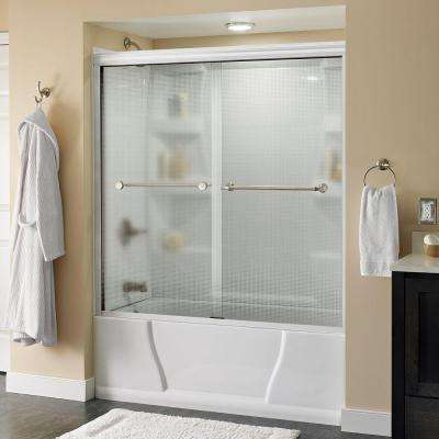 Mandara 59-3/8 in. x 56-1/2 in. Semi-Framed Tub Door in White with Nickel Hardware and Droplet Glass