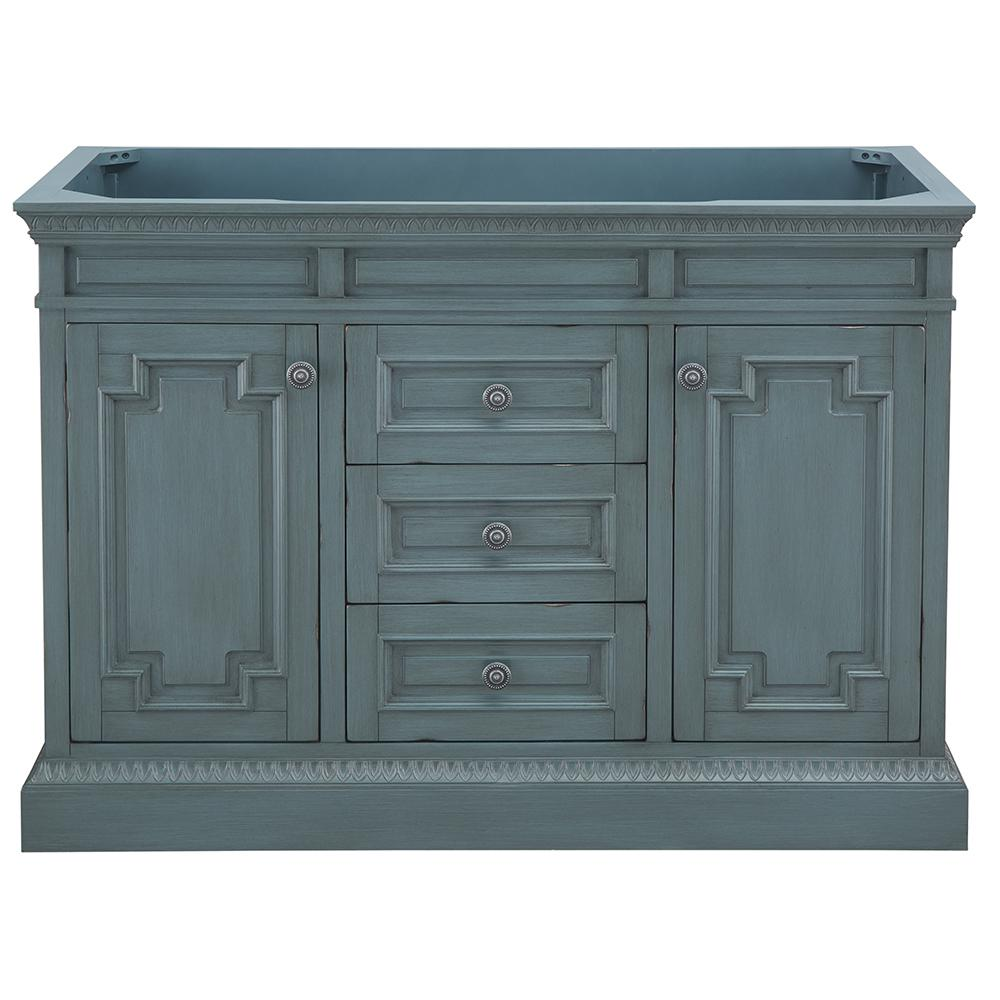 Home Decorators Collection Cailla 48 in. W x 21.50 in. D Bath Vanity Cabinet Only in Distressed Blue Fog