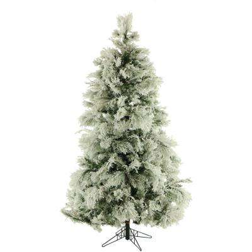 12 ft unlit flocked snowy pine artificial christmas tree - Fake White Christmas Tree