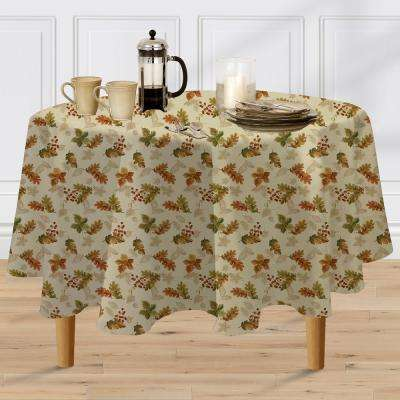 70 in. Round Ivory Elrene Swaying Leaves Polyester Fabric Tablecloth
