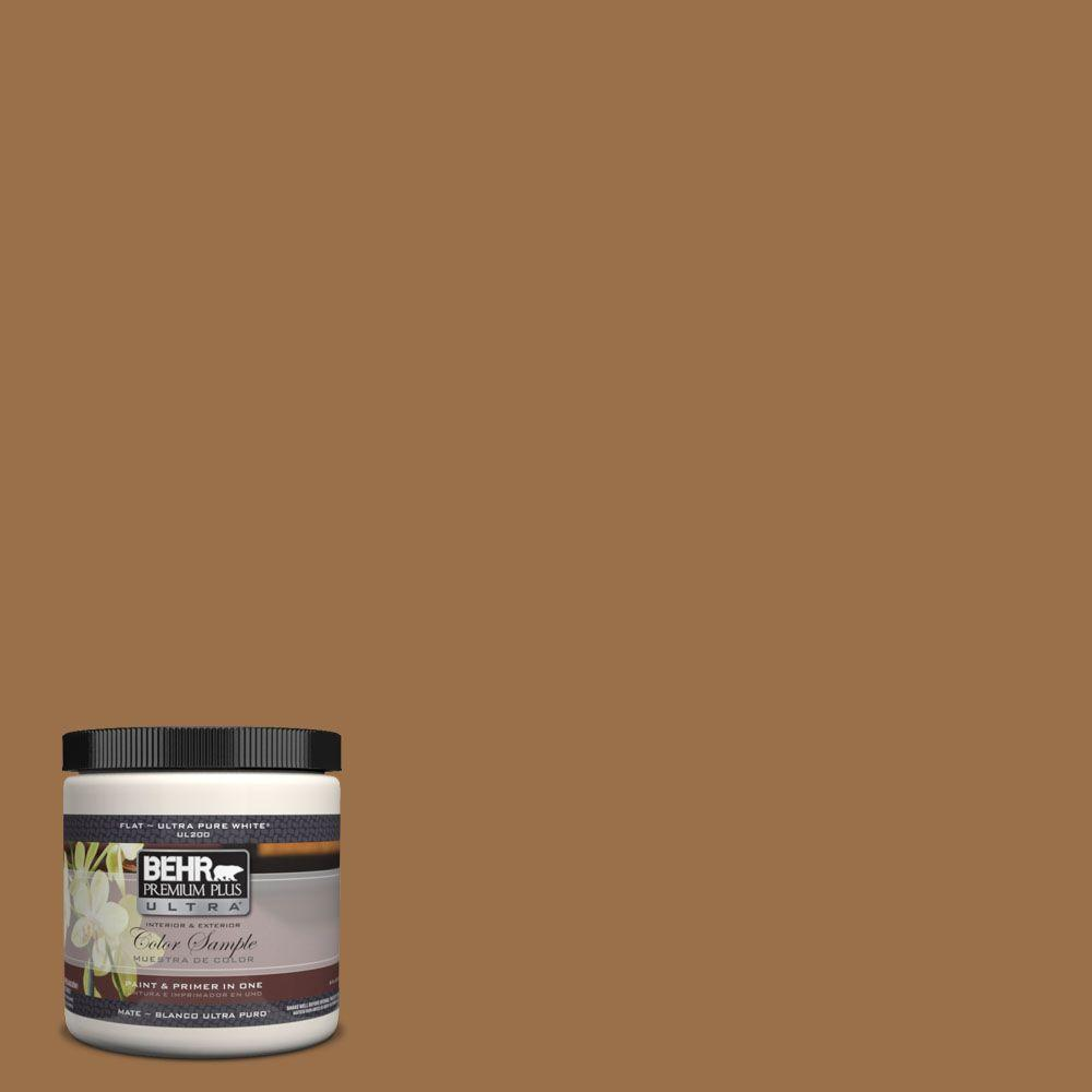 BEHR Premium Plus Ultra 8 oz. #UL150-17 Olympic Bronze Matte Interior/Exterior Paint and Primer in One Sample