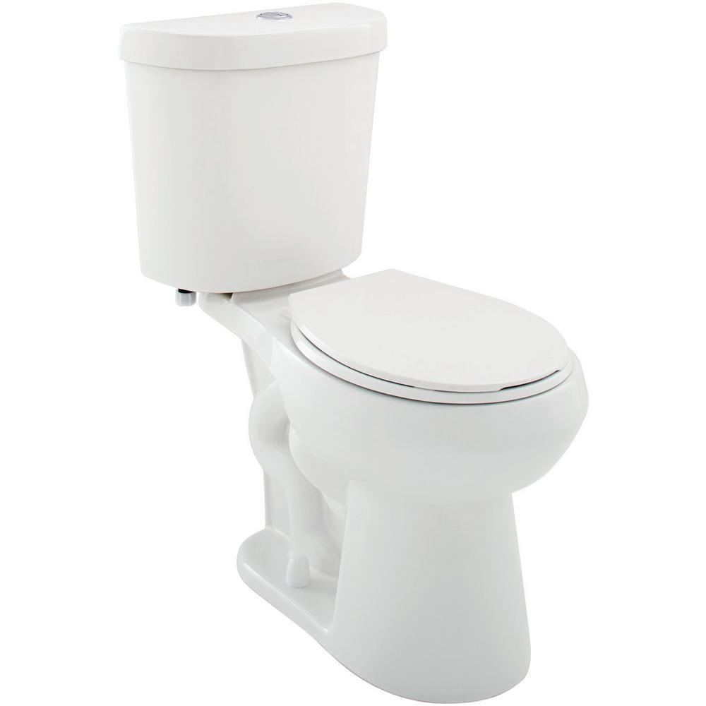 2-piece 1.1 GPF/1.6 GPF Dual Flush Round Toilet in White