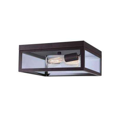 Rae 2-Light Oil Rubbed Bronze Flush Mount with Clear Glass