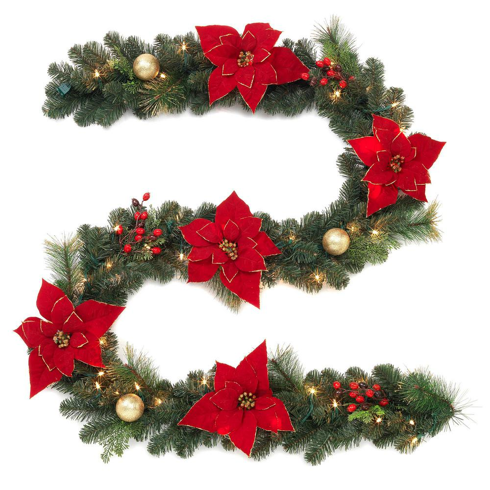 pre lit artificial garland with poinsettias - Garland Christmas Decor