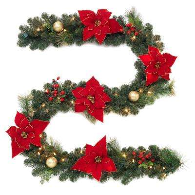 9 ft. Pre-Lit Artificial Garland with Poinsettias