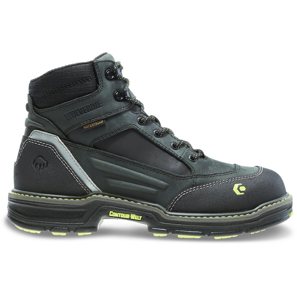 3f9934d95fe Wolverine Men's Overman Size 7M Black Full-Grain Leather Waterproof  Composite Toe 6 in. Boot