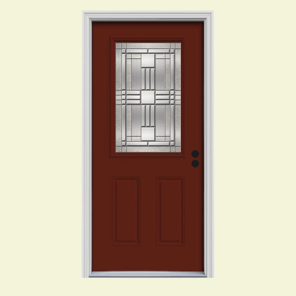 Jeld wen 34 in x 80 in 1 2 lite cordova mesa red painted steel prehung left hand inswing front for How to paint a steel exterior door