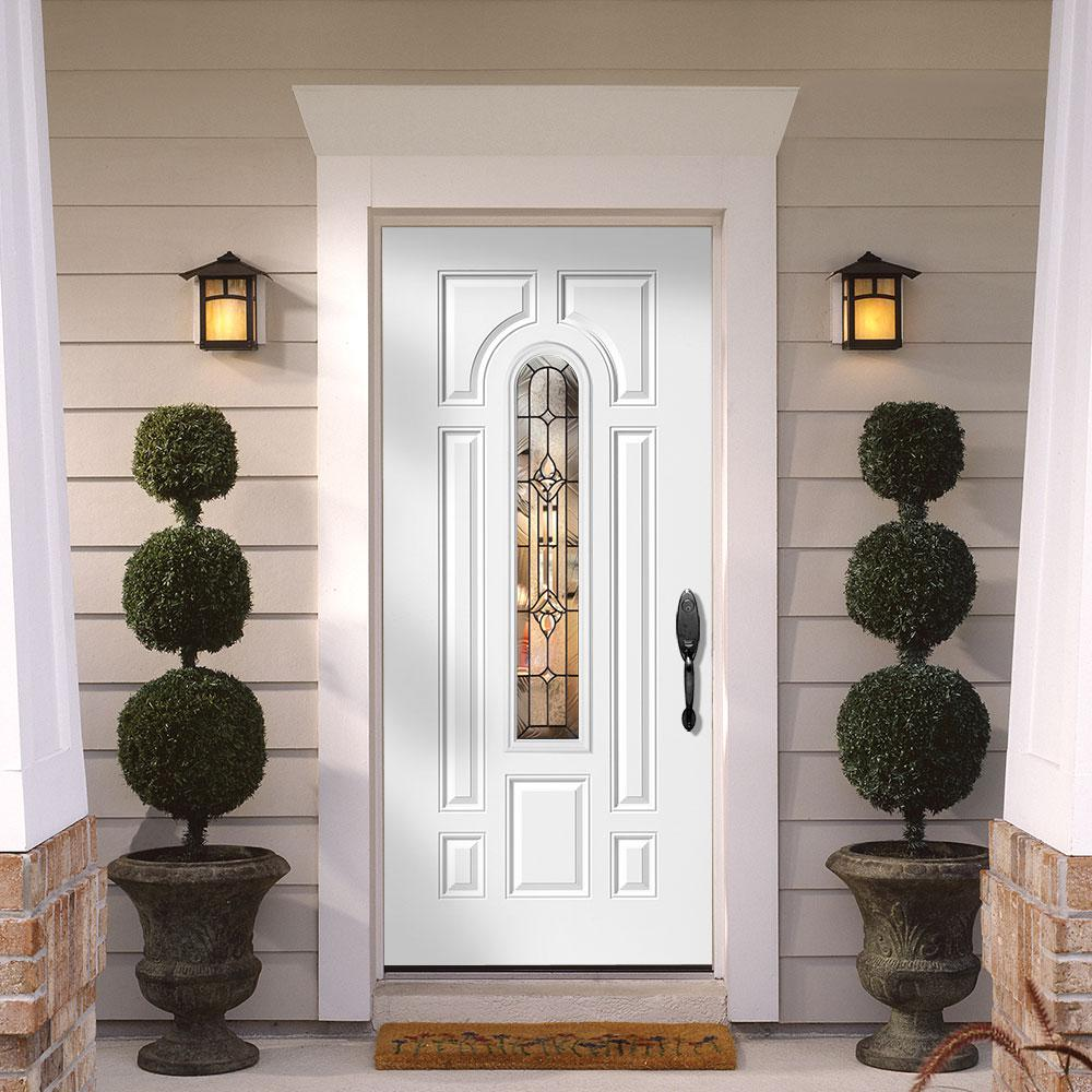 Masonite 36 In X 80 In Providence Center Arch Left Hand Outswing Primed Steel Prehung Front Exterior Door
