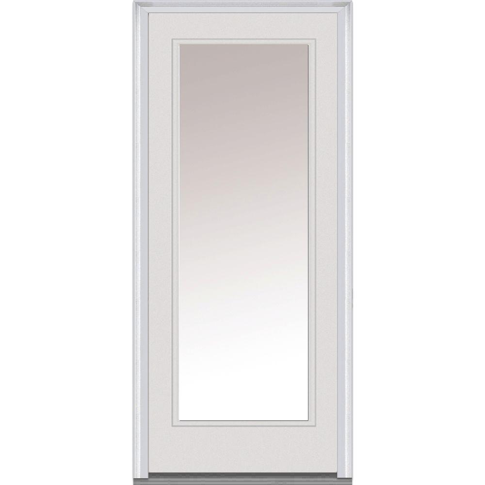 36 in. x 80 in. Clear Left-Hand Full Lite Classic Primed Fiberglass Smooth Prehung Front Door