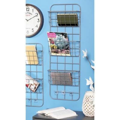 Gray Iron 3-Tiered Wall-Mounted Basket Rack with Hooks