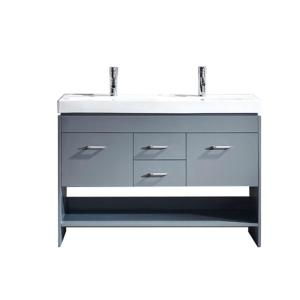 Virtu USA Gloria 48 inch W x 18 inch D Double Vanity in Gray with Ceramic Vanity Top in White with White Basin with... by Virtu USA