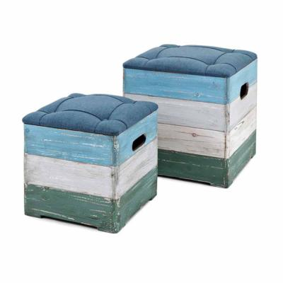Delta Multi-Color Wood Crate Ottomans (Set of 2)