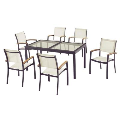 Baymont 7-Piece Aluminum Patio Outdoor Patio Dining Set with Smoked Glass Table Top and Sling Dining Chairs