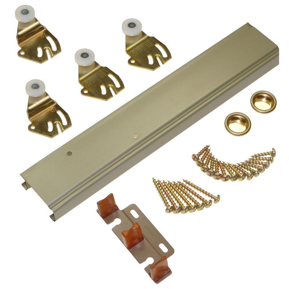 Johnson Hardware 1166 Series 60 in. Sliding Bypass Track and Hardware Set for 2 Bypass Doors