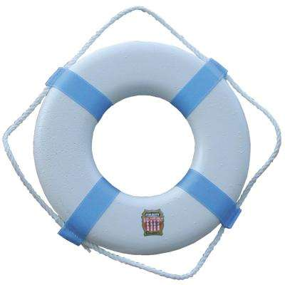 17 in. Swimming Pool and Decorative Life Ring in White