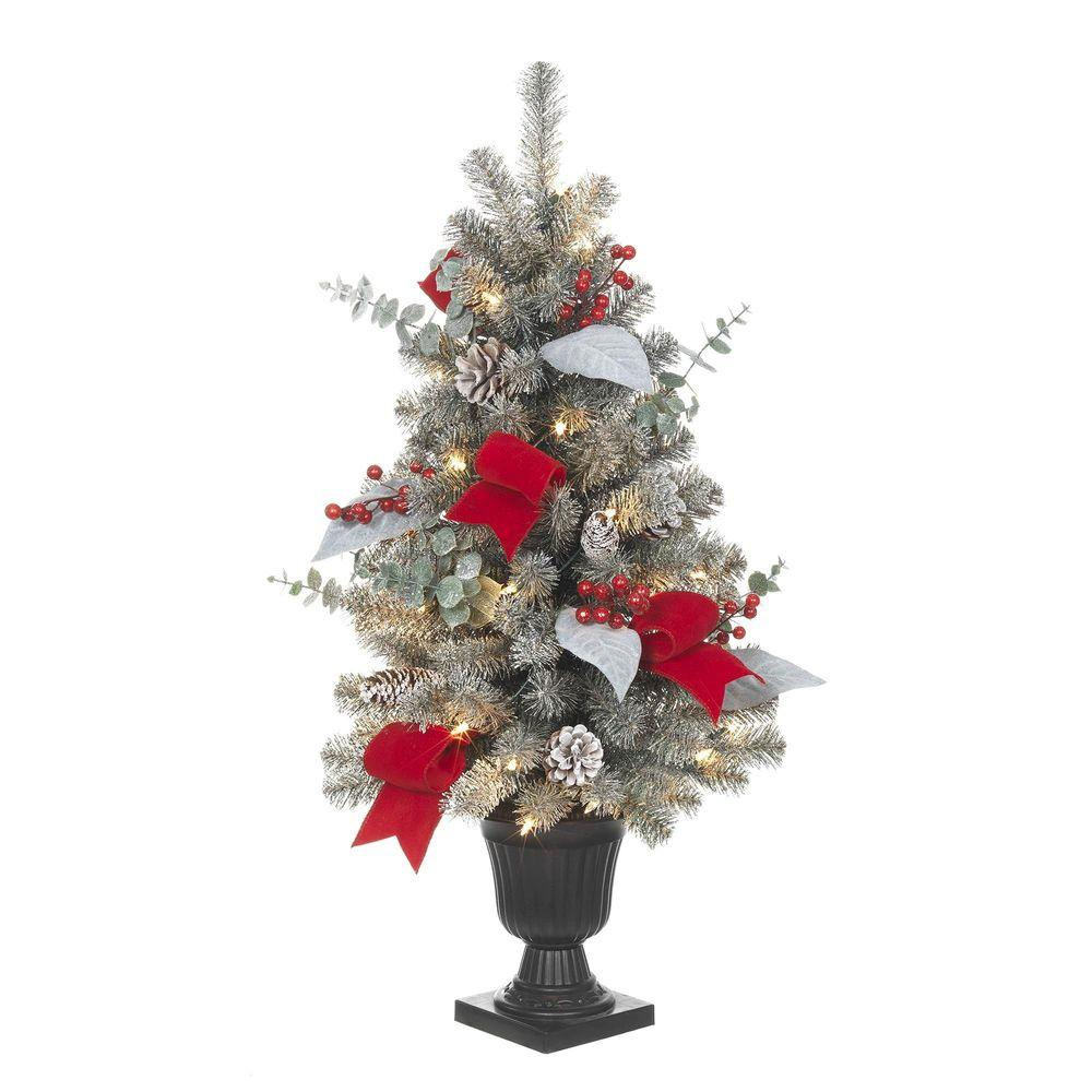 Home Accents Holiday 32 in. Pre-Lit Snowy Artificial Tree with 35 ...