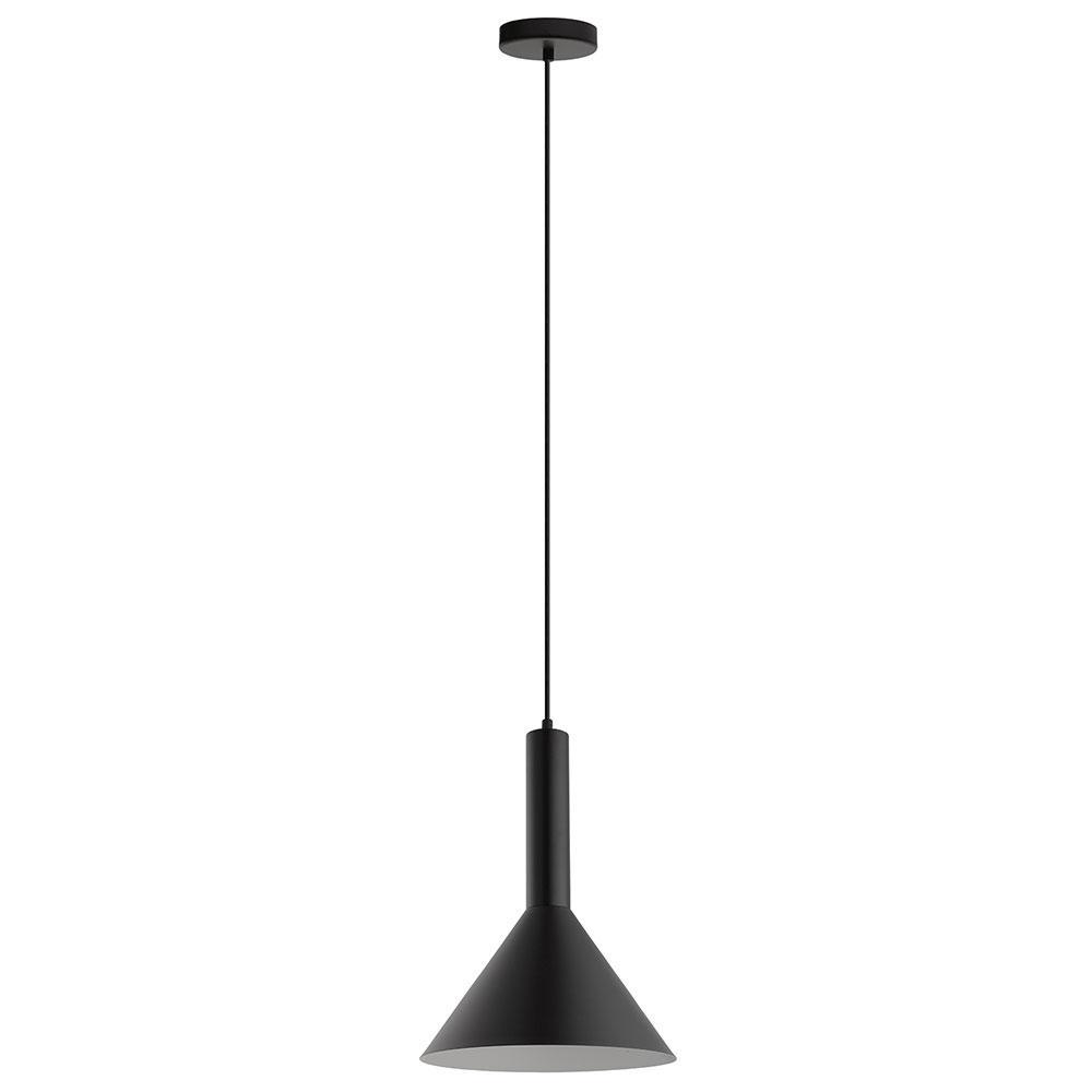 Eglo Canalello 1-Light Black Exterior and White Interior Mini Pendant