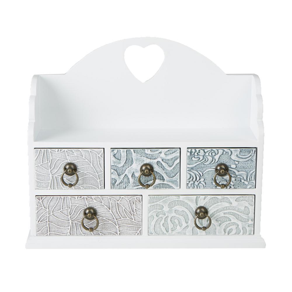 Mind Reader 1496 In W X 126 In H White Wooden 5 Drawer Storage Organizer Chest