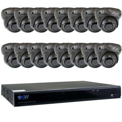 16-Channel HD-Coaxial 5MP System Bundle with 16 Dome GW537HD 2.8-12 mm Manual Varifocal Lens 98 ft. IR and 4TB