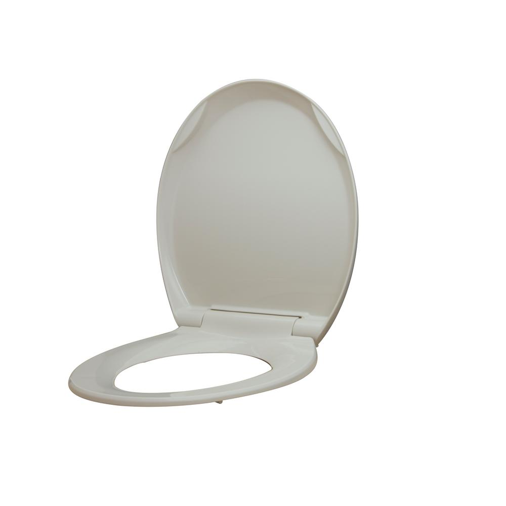 Glacier Bay Round Slow Closed Front Toilet Seat with Quick Release Hinges in Biscuit