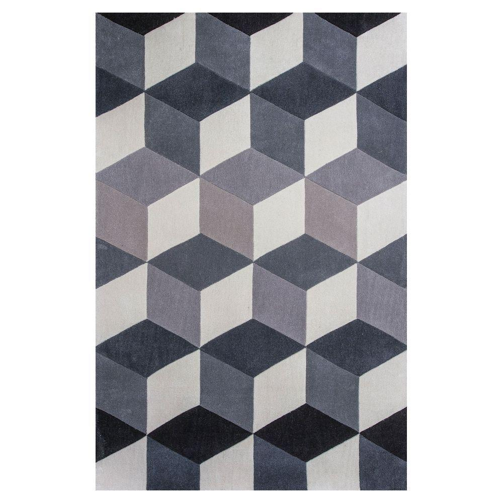 Kas Rugs Cubism Grey/Ivory 5 ft. x 7 ft. 6 in. Area Rug