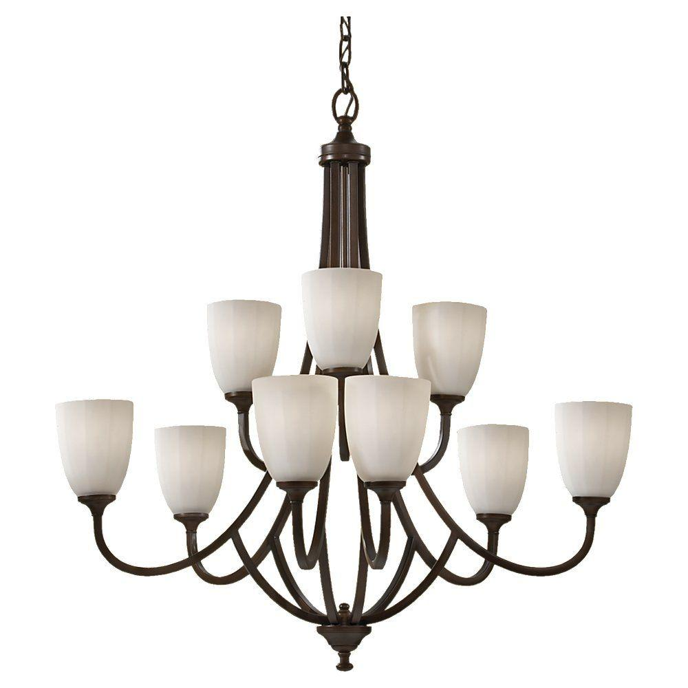 Feiss Perry 9-Light Heritage Bronze Chandelier Shade