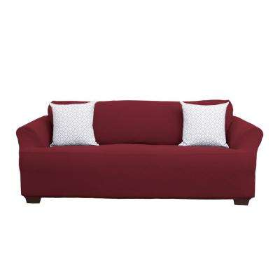 Cambria Collection Wine Stretch Fit Form Fitting Heavyweight Sofa Stretch  Slipcover Part 67