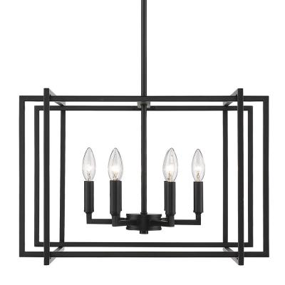 Tribeca 6-Light Black with Black Accents Chandelier