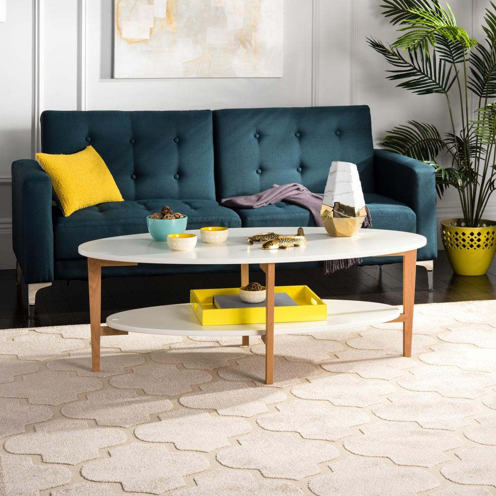 White Coffee Table Oval: Safavieh Woodruff Oval White Coffee Table-FOX8201A