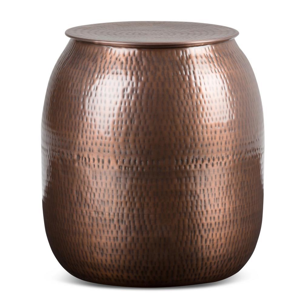 Griffen Antique Copper Metal Storage Accent Table