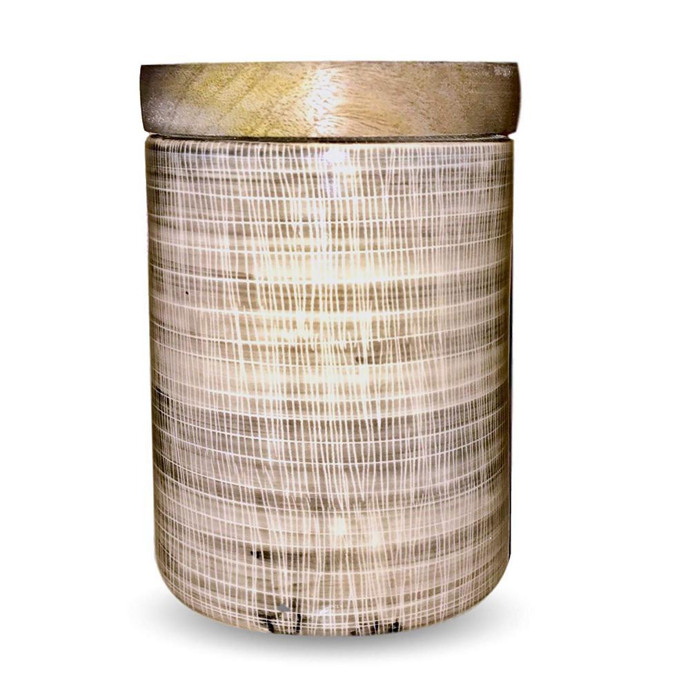 1-Piece Ceramic Vintage Cookie Jar with Mango Wood Top