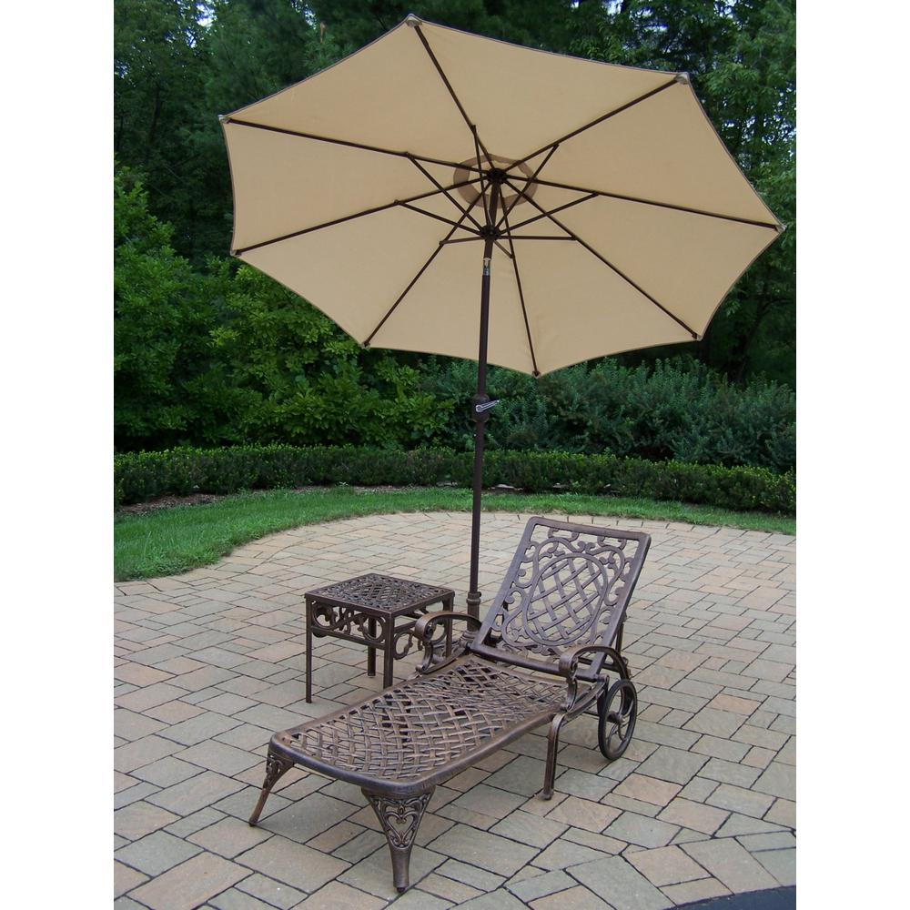 4-Piece Aluminum Outdoor Chaise Lounge Set with Beige Umbrella