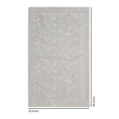 Turkish Cotton Crochet 28 in. x 48 in. Bath Rug in Light Grey