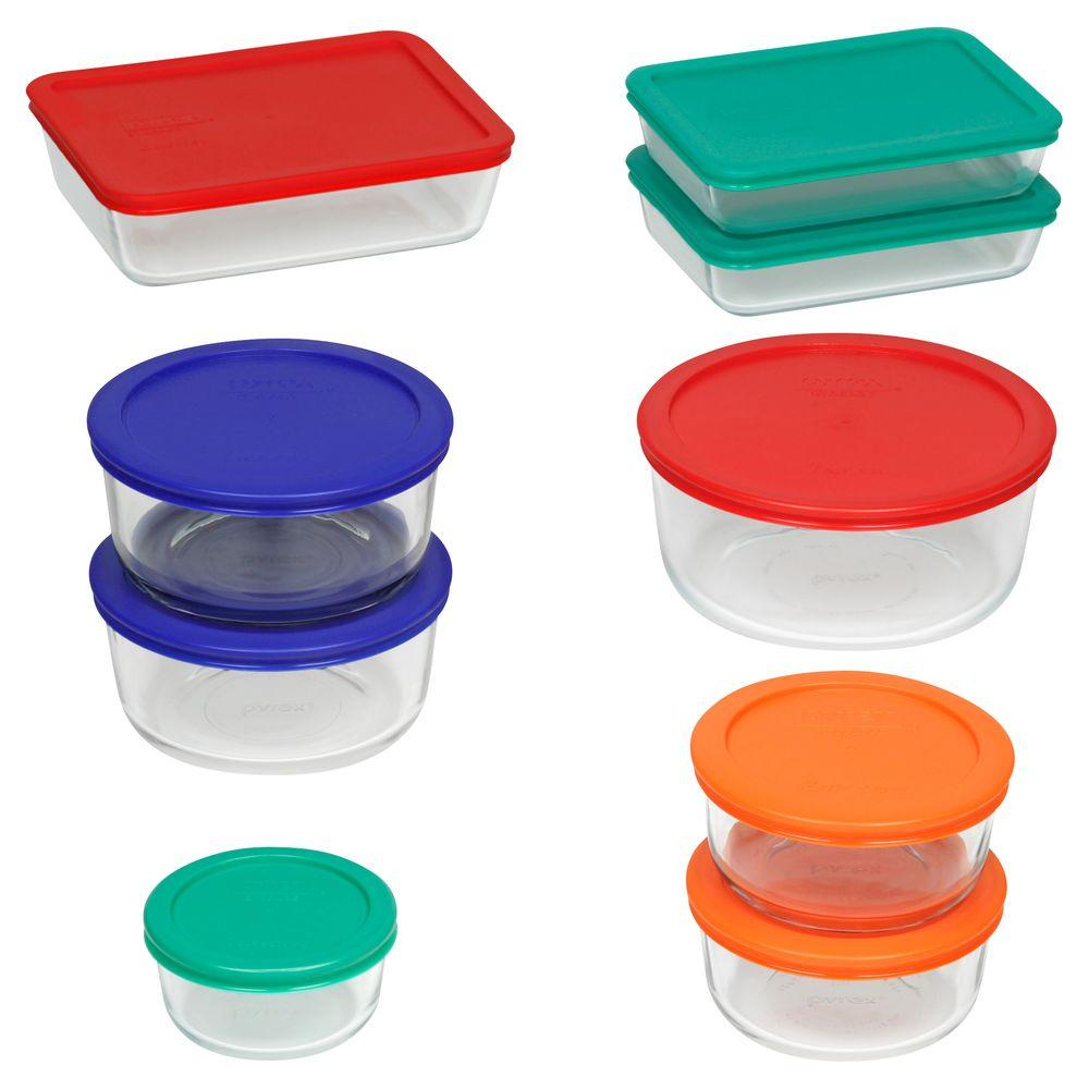 c0c85fbb5747 Pyrex Simply Store 18-Piece Glass Storage Set with Assorted Colored Lids