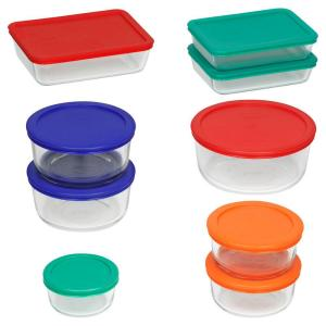 Click here to buy Pyrex 18-Piece Glass Mixing Bowl and Bakeware Set with Assorted Color Lids by Pyrex.