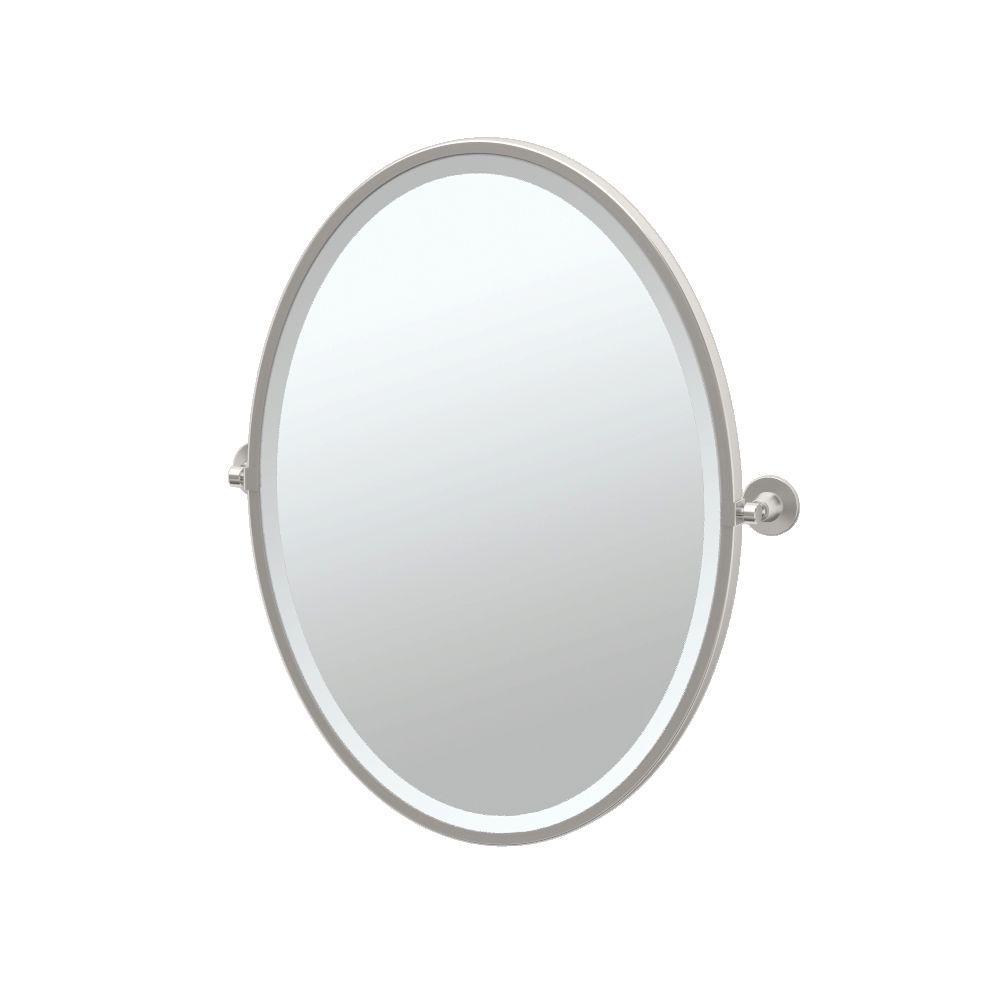 Framed Single Oval Mirror In Satin Nickel