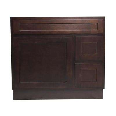 36 in. W x 21 in. D x 32.5 in. H 2-Right Drawers Bath Vanity Cabinet Only in Brown