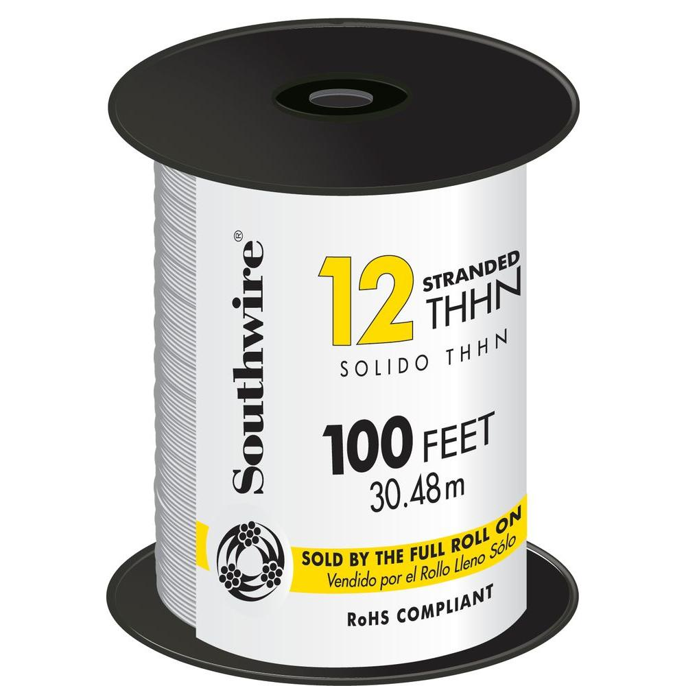 Southwire 500 ft. 12 White Stranded CU THHN Wire-22965858 - The Home ...