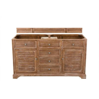 Savannah 60 in. W x 33 in. H Double Vanity Cabinet in Driftwood with Antique Pewter Hardware