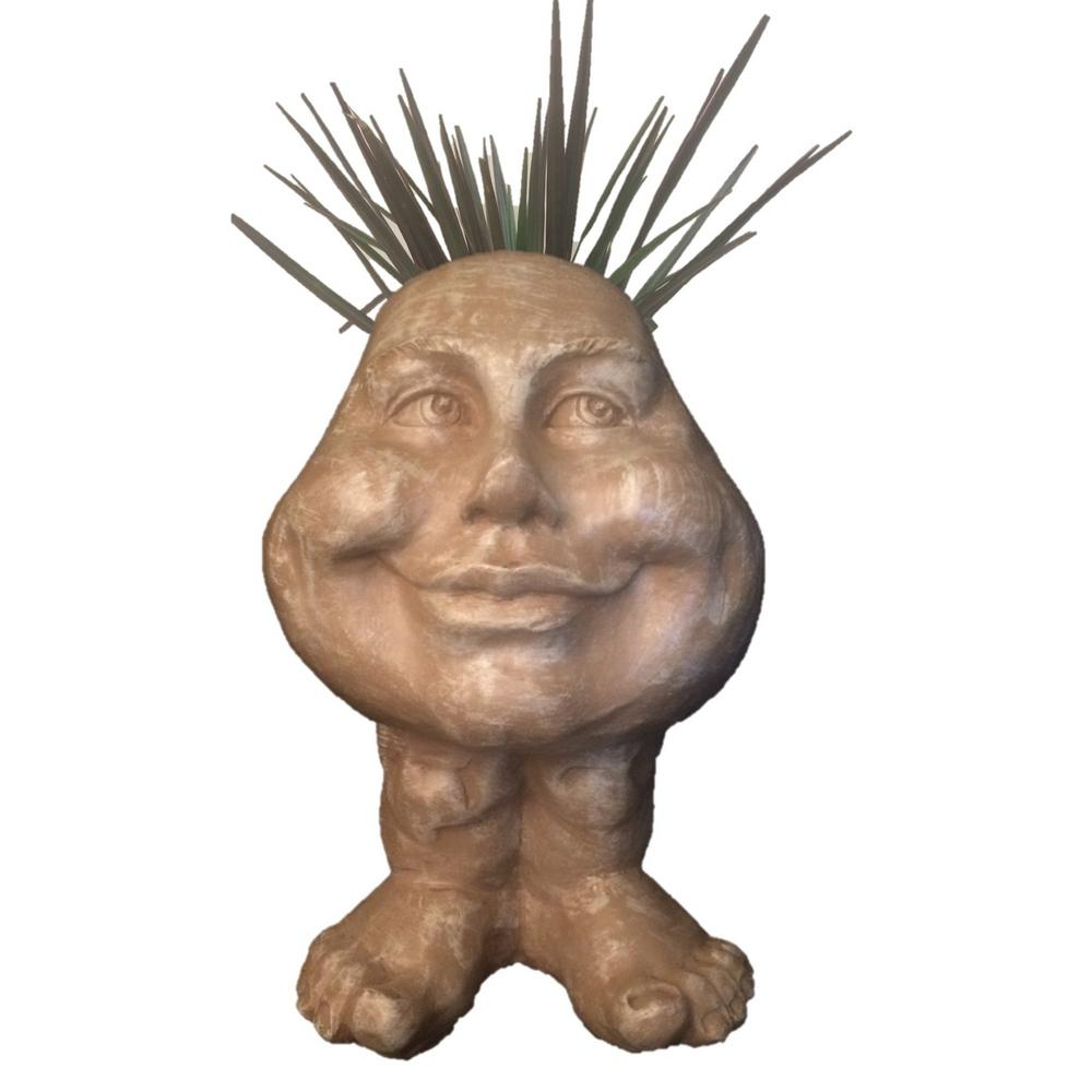 8.5 in. Stone Wash Daisy the Muggly Face Statue Planter Holds