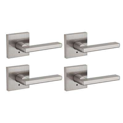 Halifax Square Satin Nickel Bed/Bath Lever (4-Pack)